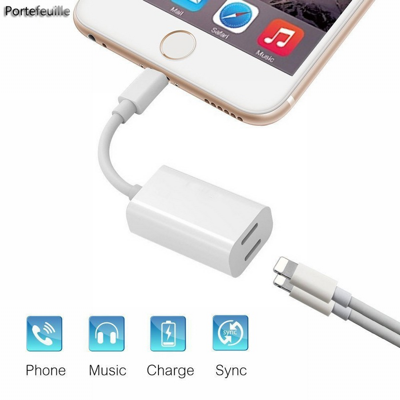 portefeuille for iphone 7 adapter splitter dual headphone. Black Bedroom Furniture Sets. Home Design Ideas