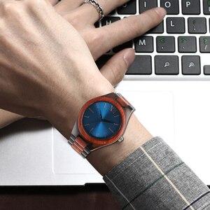 Image 4 - 2017 mode Holz Uhren Full Holz Band Sapphire Blau/Dunkelbraun Gesicht Quarzuhr Handgemachte Armbanduhren Mann Frau Geschenke