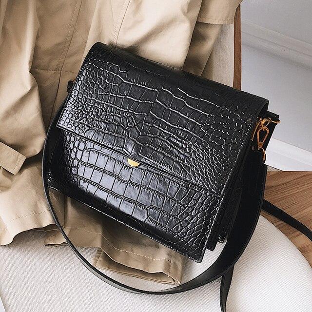Европейские модные простые женские дизайнерские сумки 2018 новые качественные женские Сумки из искусственной кожи Аллигатор через плечо