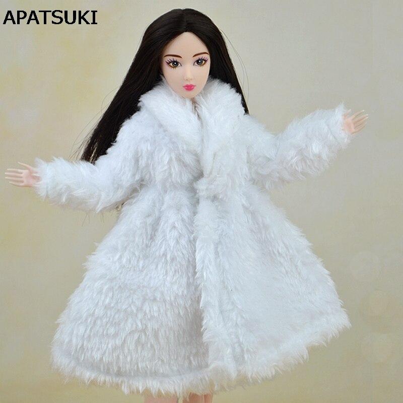 인형 액세서리 겨울 따뜻한 착용 화이트 모피 코트 복장 바비 인형 모피 인형 의류 1/6 BJD 인형 아동 장난감