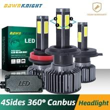 360degre 4 Sides H7 Led Canbus H4 9005 9006HB4 H9 H11 9012 H7 Led Lamp 12000LM 6000K Turbo Cooling Car Led Headlight H7 Led Bulb цена