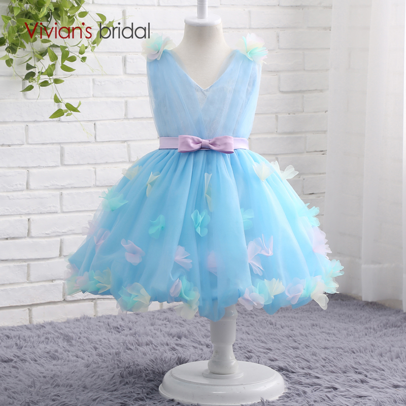 Vivian\'s Bridal V Neck Sleeveless Graduation Gowns Children Ball ...