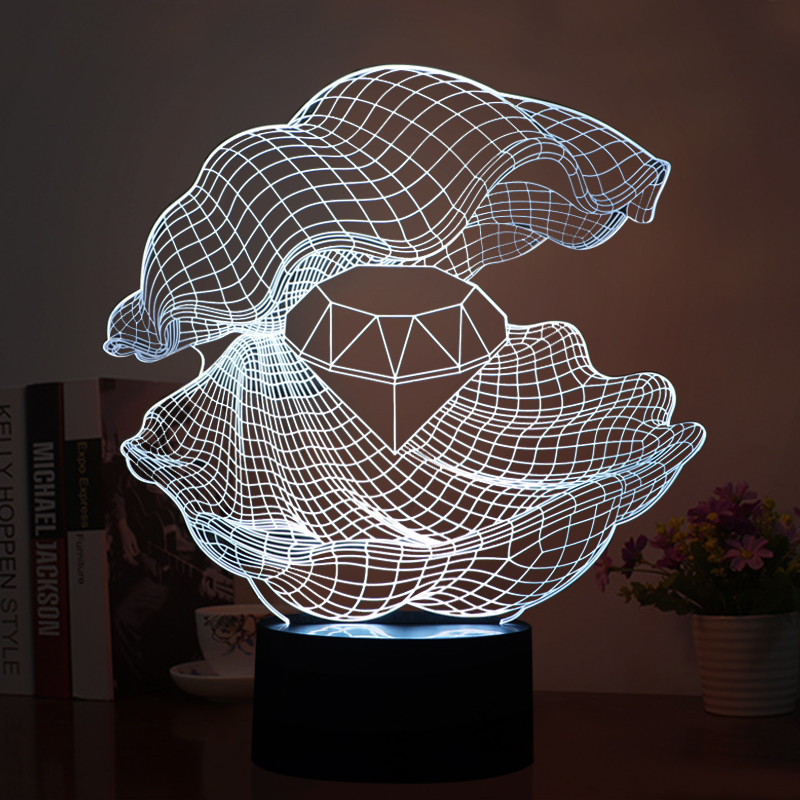 Unique 3D LED Visual USB Lamp LED Mussel Pattern Night Lights LED Switch Button Lights as Artical Decorations