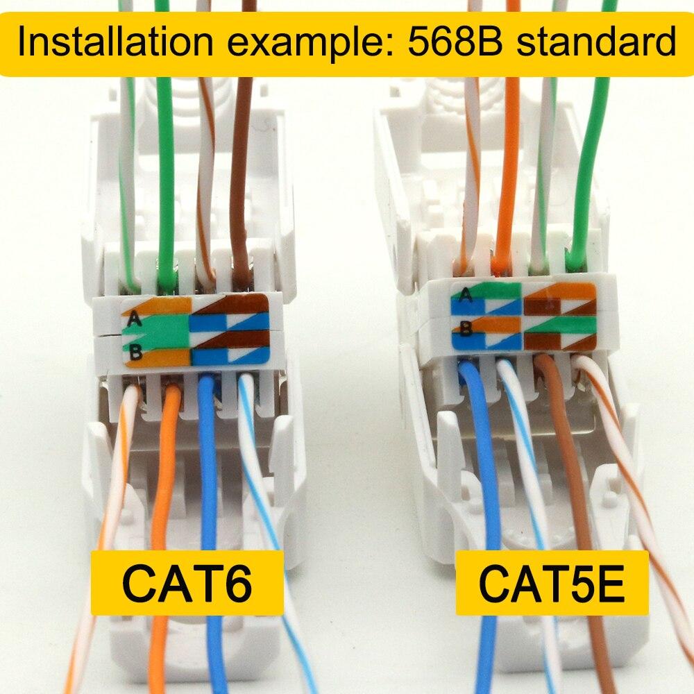 Xintylink Connecteur Ethernet Rj45 Sans Outils Prise De Câble Réseau Cat5 Cat5e Cat6 8p8c Utp Non Blindé Terminaux Modulaires De Réutilisation Aliexpress