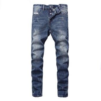 цена на Fashion Designer Men Jeans Blue 100% Cotton Denim Pants hombre Vintage Straight Fit Buttons Jeans Men Streetwear Classical Jeans