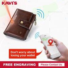 Kavis marca carteira inteligente de alta qualidade rfid couro genuíno com alarme gps mapa, alarme bluetooth homens bolsa design carteiras walet