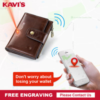 KAVIS Brand Smart Wallet High Quality Rfid Genuine Leather with Alarm GPS Map, Bluetooth Alarm Men Purse Design Wallets Walet