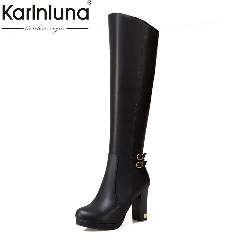 KARINLUNA Big Size 34-43 Women Knee Boots Vintage Square High Heels Round Toe Platform Shoes Woman Winter Fur Knight Boots