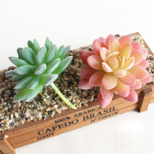 Green Flocking Artificial Succulents Plants Bonsai Desktop Fake Valentines Day Wedding Decoration Plante 29