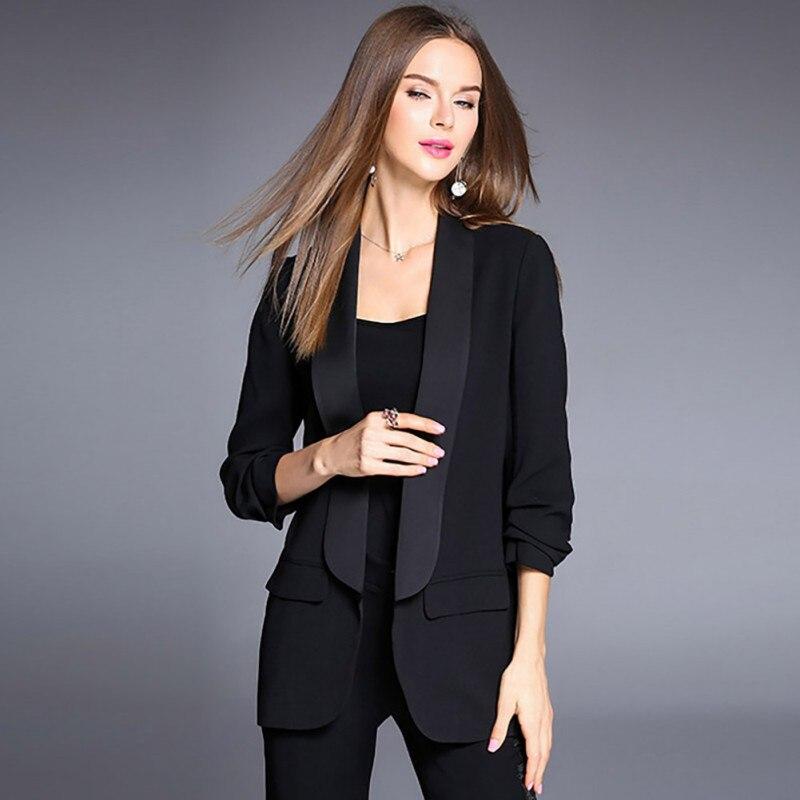 Autumn Fashion Solid Color Slim Blazer Women Jacket Female Work Office Lady Long Sleeve Business Blazer Coat Feminino in Blazers from Women 39 s Clothing
