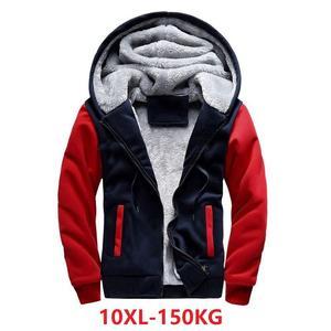 Image 4 - ผู้ชายขนาดใหญ่เสื้อ7XL 8XL 9XL 10XLฤดูใบไม้ร่วงและฤดูหนาวแขนยาวซิปหนาขนแกะสีฟ้าสีแดงMatc