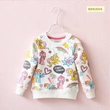 Y31154536 Au Détail 2017 Automne Corée Bébé Fille Top Imprimer Animaux Cheval De Mode Fille Tee Enfants Pull Fille Vêtements Lolita