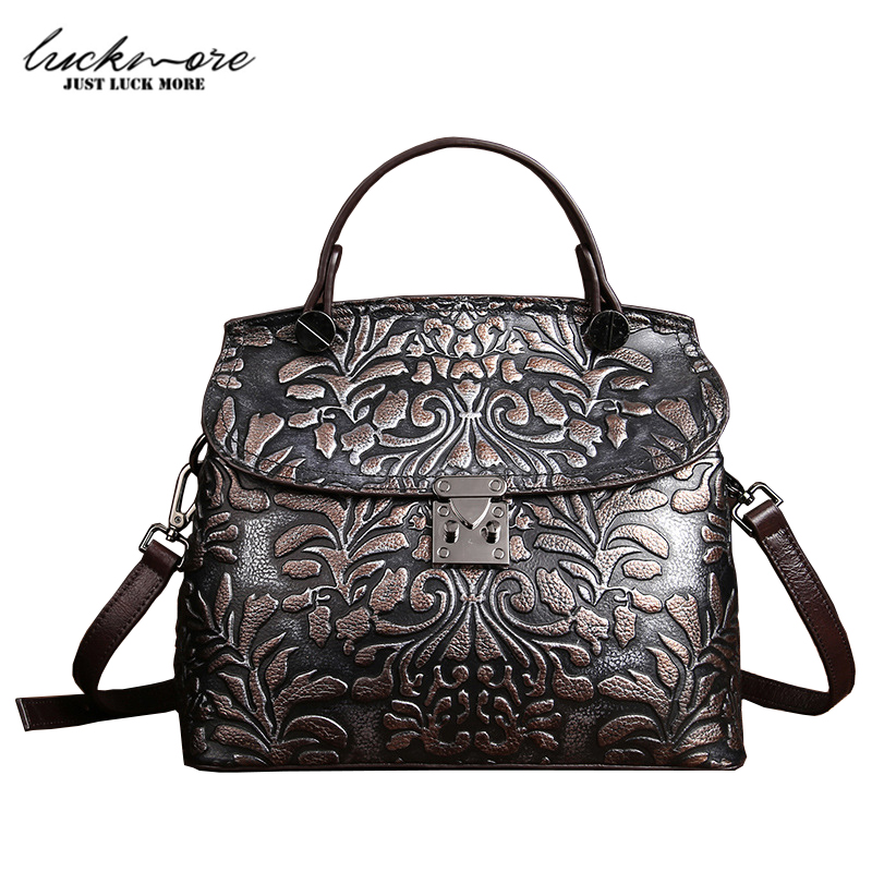 Embossed Flower Genuine Leather Women Bag Luxury Handbags Designer Vintage Woman Shoulder Bags bolsa feminina High Quality часы