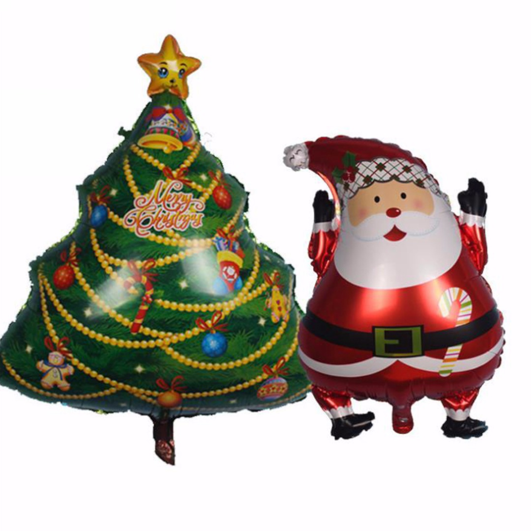 Christmas Party Bolloons Santa Claus Snowman Tree Aluminum Wedding Ballon Party Home Decoration Mayitr Festival Supplies