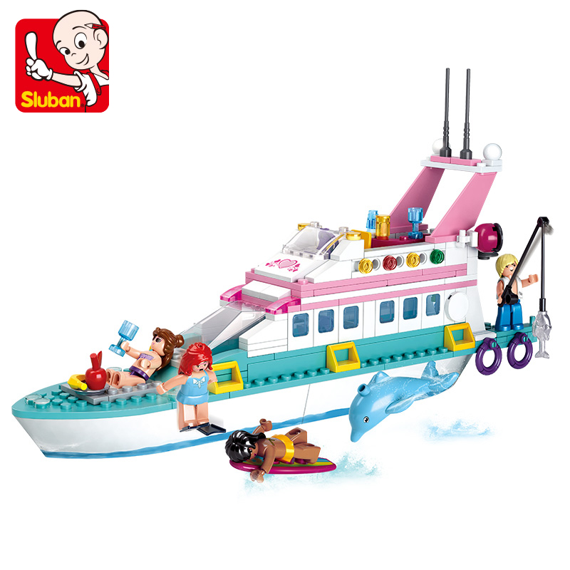 Sluban 328Pcs Friends Girl Cruiser Vessel Ship Dolphin Model Building Blocks Bricks Kids Toy Luxury Yacht Compatible With Lepin