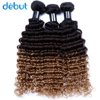 Debut Wet And Wavy Human Hair Burgundy Bundles 3 PCS Ombre Color T1b4/27 Cheap Price 10 26 Inch Human Hair For Black Women