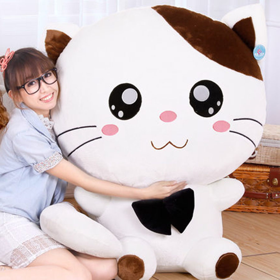 Cute Large Size Cat Plush Stuffed Toys Pillow Birthday Gift Cushion Fortune Cat Kawaii Plush Toys Peluches De Animales 70C0076 2018 huge giant plush bed kawaii bear pillow stuffed monkey frog toys frog peluche gigante peluches de animales gigantes 50t0424
