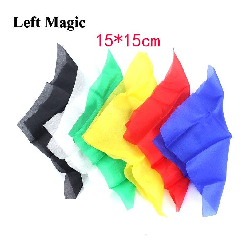 15*15cm Colorful Silk Scarf Close Up Magic Tricks Red Blue Green Blue Black White Color Magic Silk Street Stage Magic Props