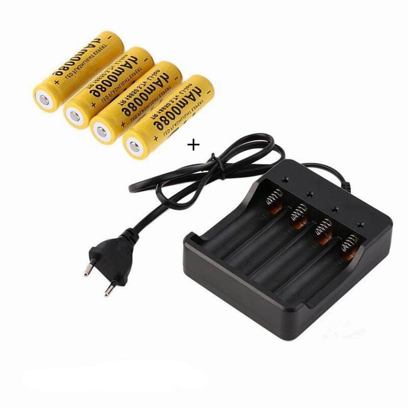 4 pcs/lot haute qualité 18650 3.7 V 9800 mAh Lithium ion batteries batterie Rechargeable pour lampe de poche torche laser pointeur + chargeur