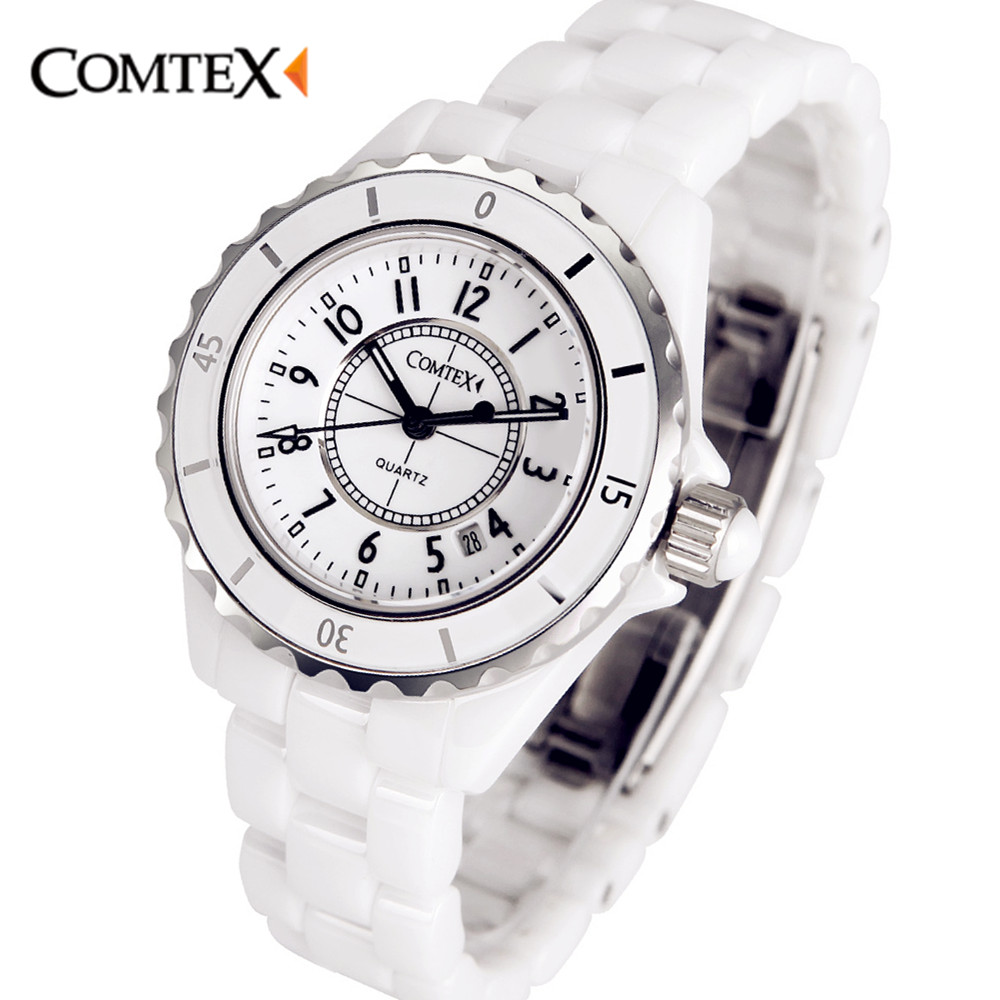 COMTEX Women Watches 2017Top Luxury Brand White Ceramic Wristwatch Fashion Quartz Calendar Waterproof Dress Watch For