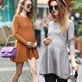Primavera roupa de maternidade vestido de maternidade básico de uma peça slim-d0781 one piece-vestido longo-luva básico
