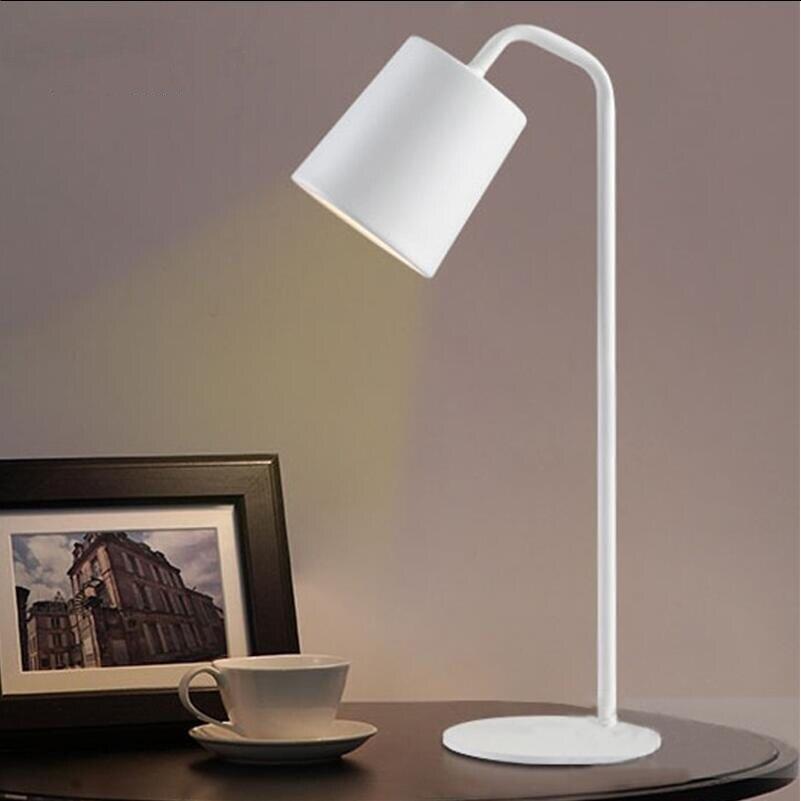 Современный H55cm коленом из кованого железа желтый железный Настольный светильник настольные лампы для спальни e27 светодиодная лампа для прикроватной учебы комнаты, офиса, Белый/Черный настольные лампы - 4