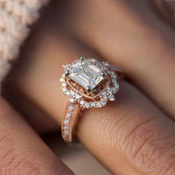 New Rose GoldSilver Color Square Zircon Princess Silver Rings European and American Fashion Engagement Female Women Jewelry
