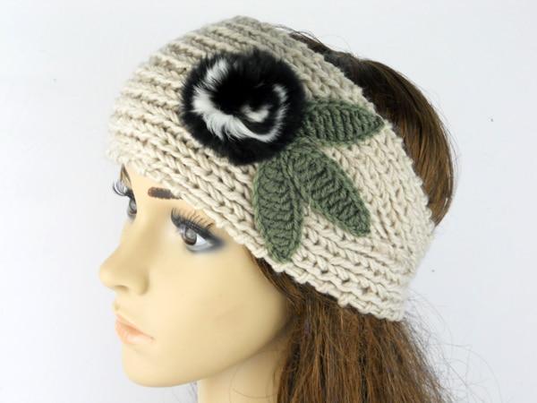 28526b25305 New fashion women winter Knit Headband hair accessories fur flower with  knit leaf lady crochet ear