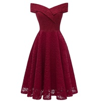 Off Shoulder Sleeveless Cut Out lace dress Robe lace rockabilly purple Vintage 50s 60s swing tunic night party pin up dress