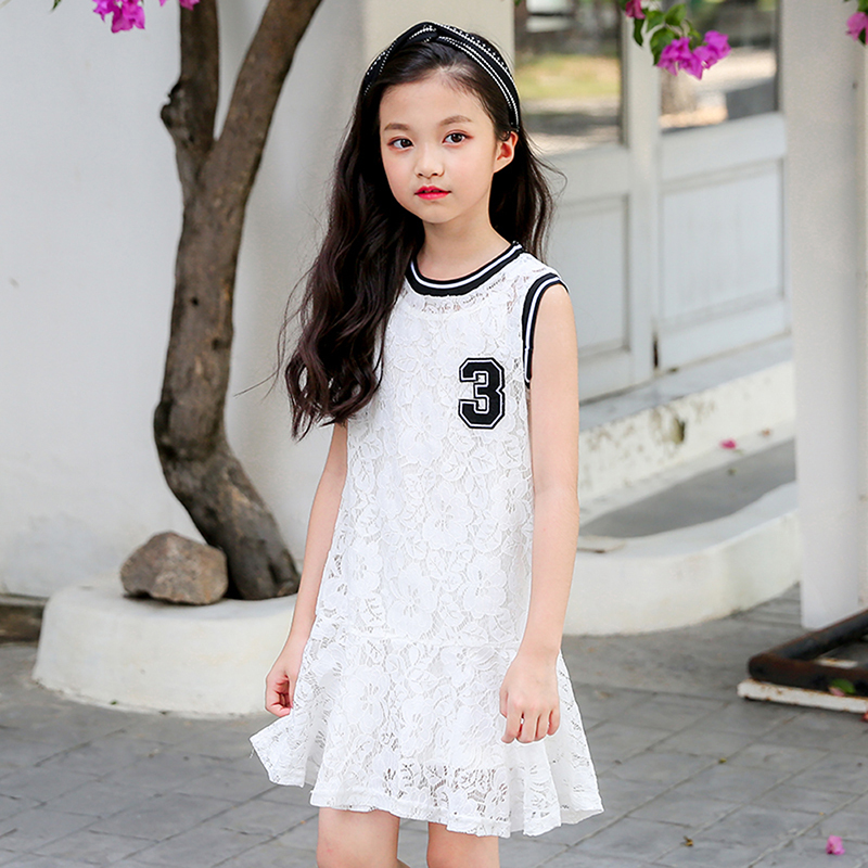 New white lace kids dresses for baby teenage girls summer 2018 dress kids clothes children sleeveless o neck sundress clothing