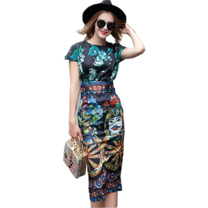 2019 Top Fashion European American Women Short Sleeve Vintage Slim Sheath Dress Character Printed Long Casual