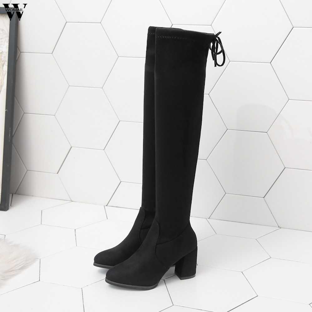 Uyluk yüksek çizmeler kadın kış çizmeler kadın diz üzerinde çizmeler düz streç seksi moda ayakkabılar 2018 siyah binici çizmeleri Nov28