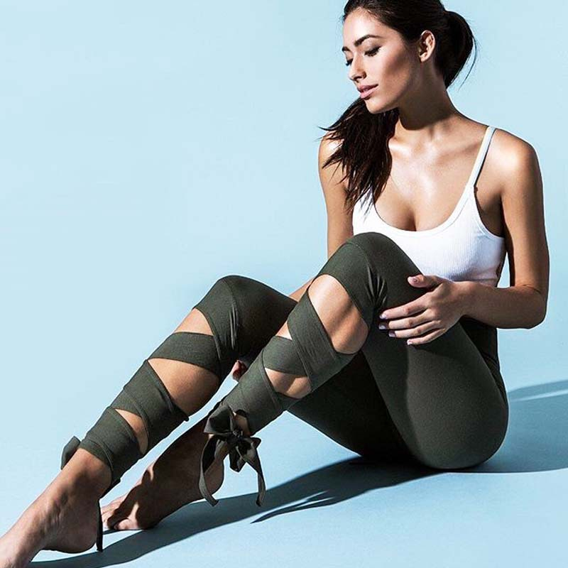 GERTU 2018 New Arrival Svart Bandage Cross Leggings Women High Waist Mode Sportväskor Fitness Gymming Lady Capris Legging