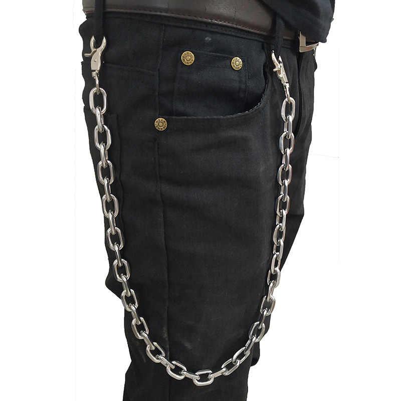 2019 nowych moda Punk hip-hop skórzane pasy talii łańcuch spodnie męskie łańcuch dla mężczyzn dla kobiet Jeans Silver Metal odzież akcesoria