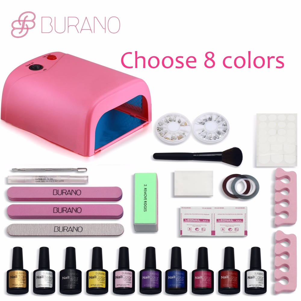 Burano New Arrival Hot Sale Soak-off Gel polish gel nail kit nail art tools sets kits manicure set choose 8 colors NEW focallure new arrival uv gel kit soak off gel polish gel nail kit nail art tools sets kits manicure set with sunmini led lamp