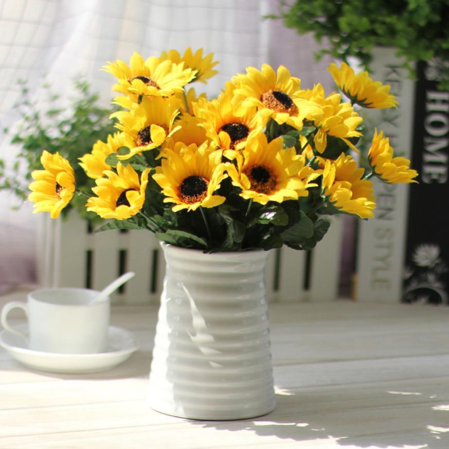 1 bouquet Yellow Silk Sunflower decorative Fake Silk ...