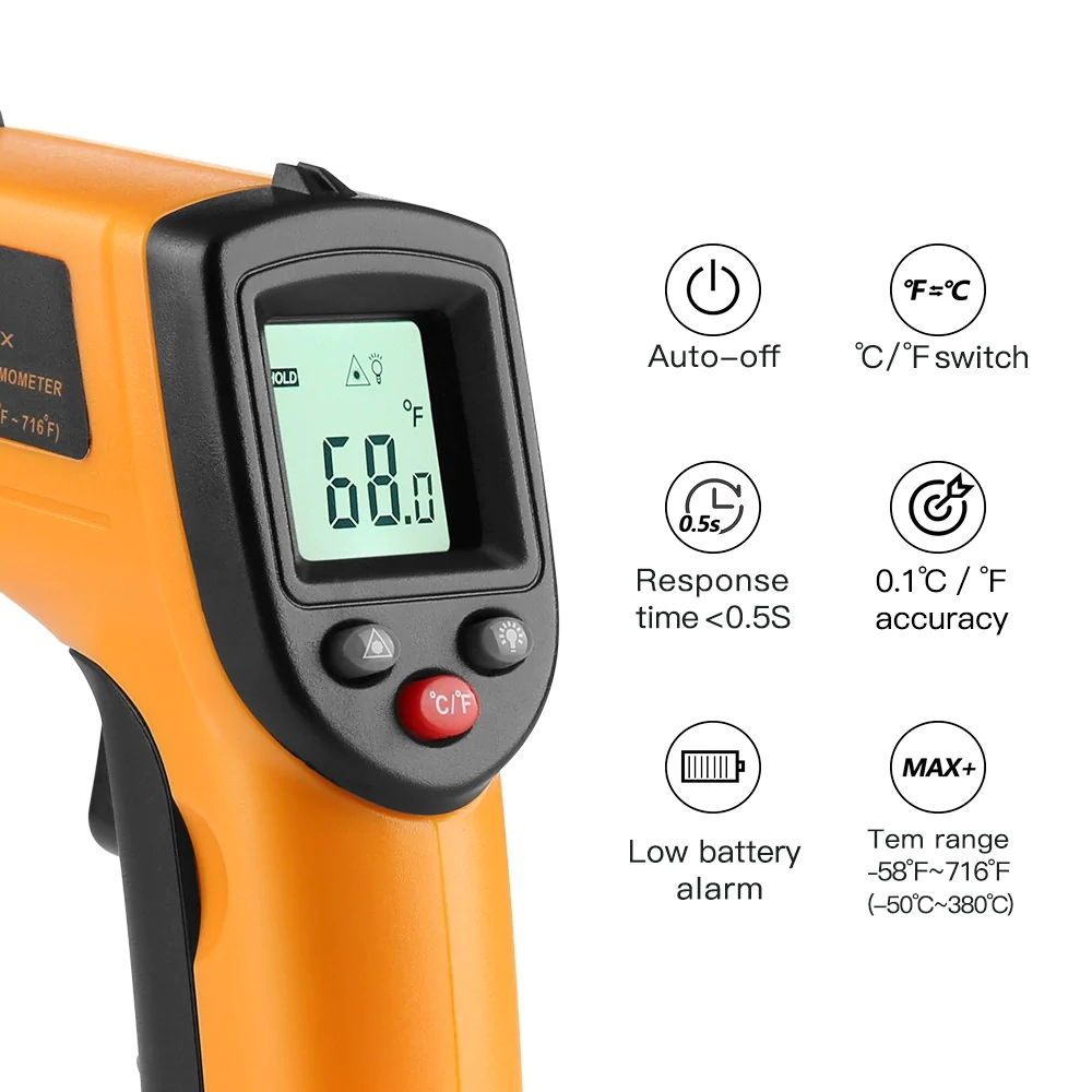 Vastar цифровой GM320 инфракрасный термометр Бесконтактный измеритель температуры пирометр ИК лазерный точечный пистолет-50~ 380 Цельсия