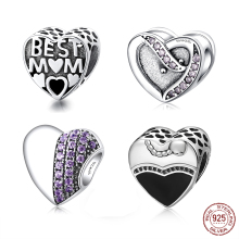 925 Sterling Silver Crystal Heart Beads Fit Original Pandora Charms Bracelet & Bangle Jewelry Women Gift XPCYhc