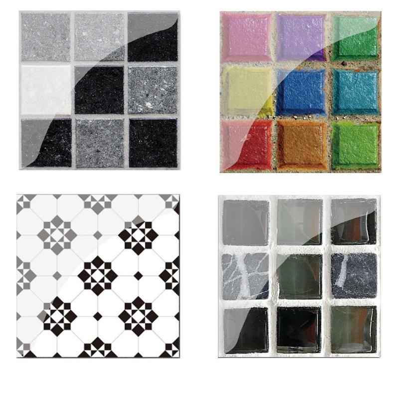 19pcs Vintage Self Adhesive Tile Stickers PVC Tile Wall Decals 10x10cm Tile Floor Wall Decal Sticker DIY Kitchen Bathroom Decor