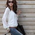 Blusa Chiffon mulheres Primavera de Moda de Nova Branco Longo Manga O Pescoço Blusas Roupas Femininas Camisas Blusas Soltas das Mulheres Casuais