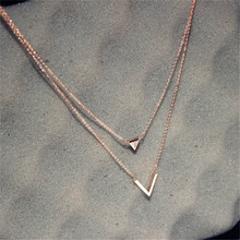 CX-Shirling Luxurious Zircon V Letter Pendant Short Necklace Double Layers Long Collar Female Party Jewelry