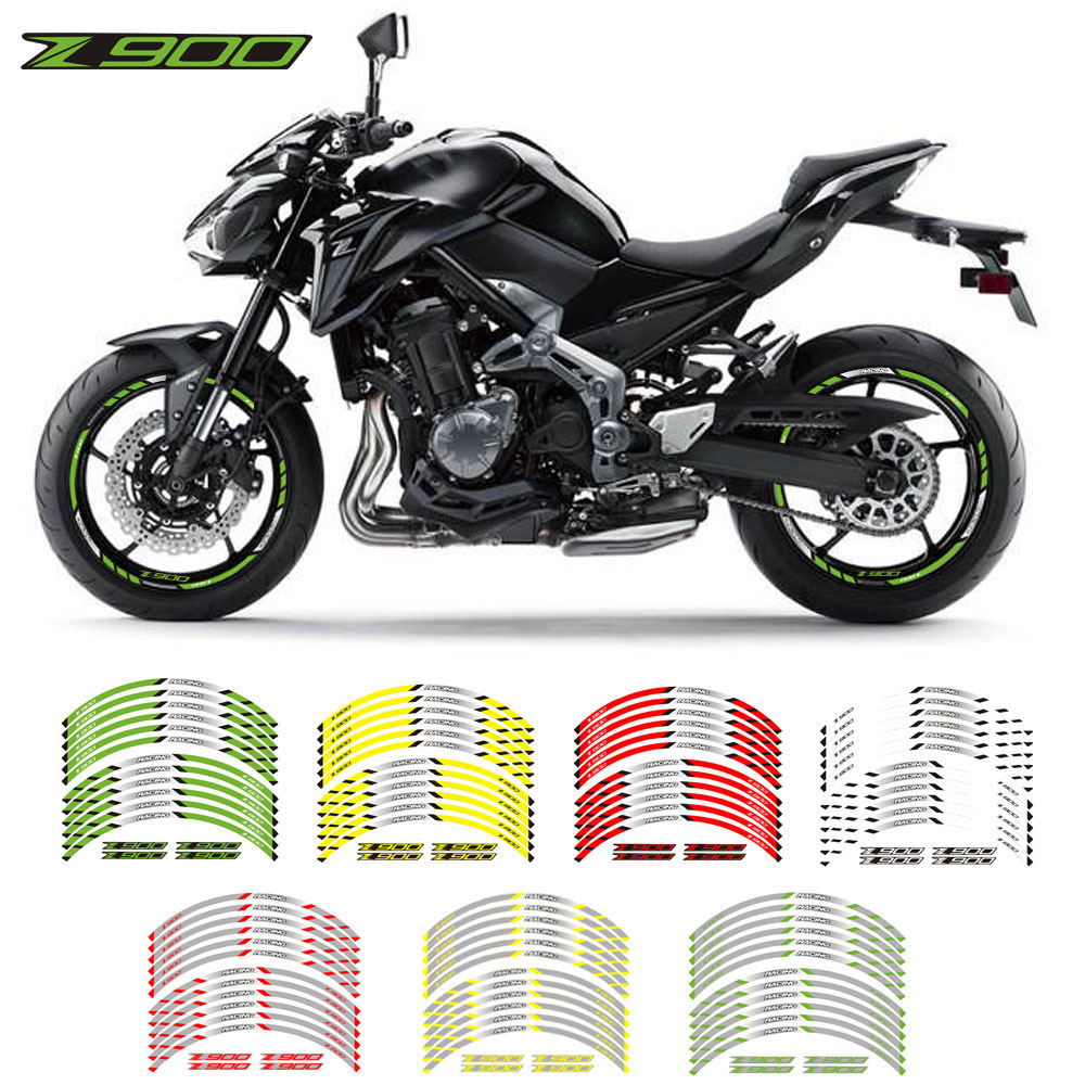 Us 1322 30 Offnew Motorcycle Wheel Sticker 12pcs Thick Edge Outer Rim Sticker Stripe Wheel Decals For Kawasaki Z900 In Decals Stickers From