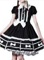 (LLT039) Lolita Dresses Short Sleeveless New Brand PartissWomen Cap Sleeves Classic Black Lolita Dress With Cross Straps