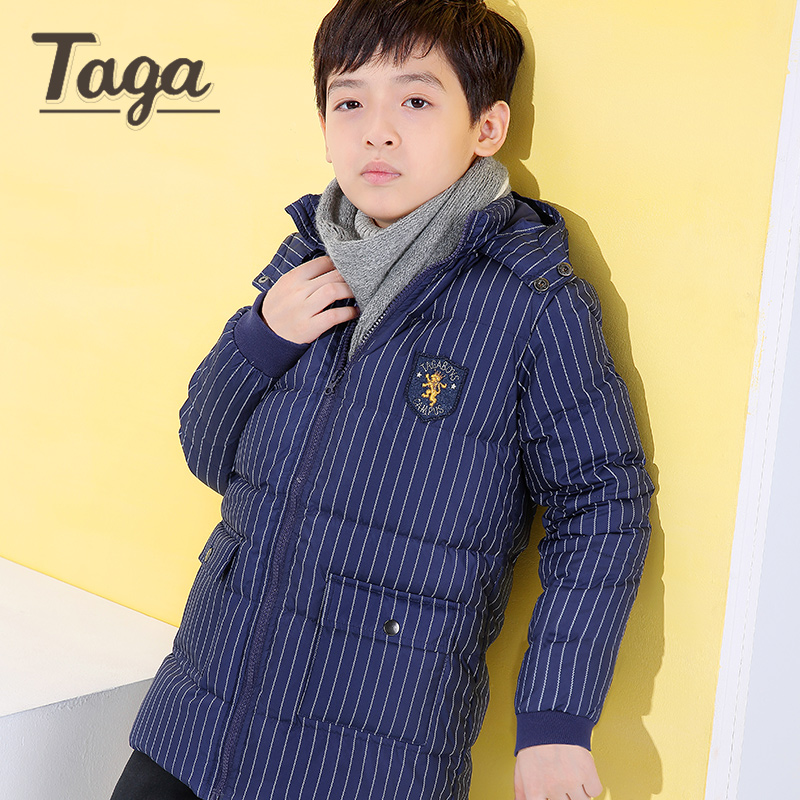 TAGA 2017 4-16 Year Boys Winter Coats Warm Casual Fashion Parka Children Hooded Outerwear Boys Down Jacket 80% Duck Down Coat 2017 60 year old 70 grandmother jacket in the elderly mothers installed women s winter 80 elderly lady down jacket