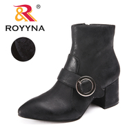 ROYYNA New Fashion Style Women Boots Metal Decoration Women Winter Shoes Zipper Lady Ankle Boots Comfortable