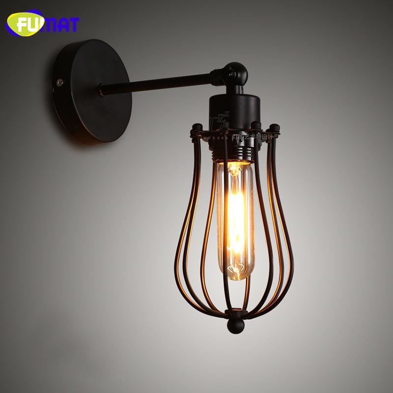 FUMAT Loft Lamp Cage Wall Lamps Industrial Retro Wall Sconces Kitchen Bar Bedroom Bedside Lamp Vintage Bathroom Sconces