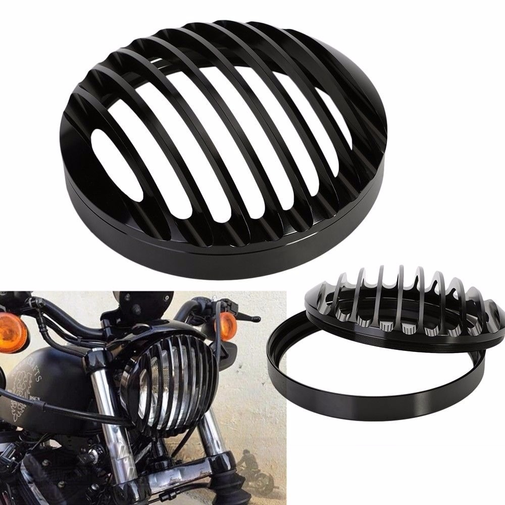 For HARLEY SPORTSTER XL 883 1200 2004 2005 2006 2007 2008 2009 2010 2011 2012 BLACK ALUMINUM HEADLIGHT GRILL COVER