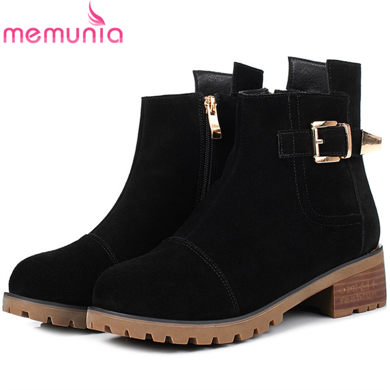 MEMUNIA Leather boots in autumn winter boots for women cow suede med heels shoes woman ankle boots female fashion big size 34-43 memunia ankle boots for women high heels shoes woman pointed toe fashion boots female party flock solid big size 34 43