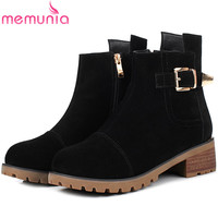 MEMUNIA Leather Boots In Autumn Winter Boots For Women Cow Suede Med Heels Shoes Woman Ankle