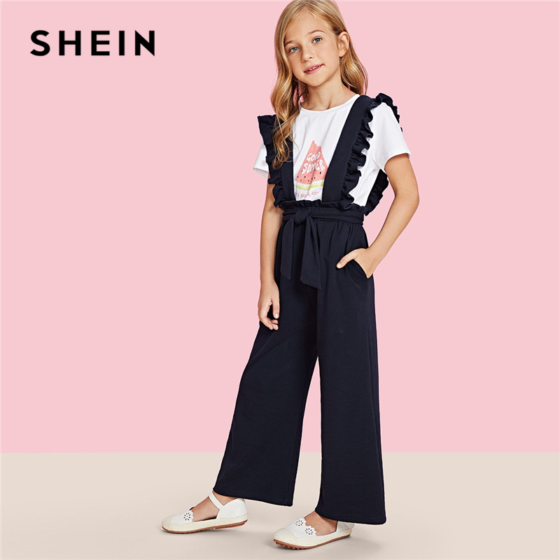 SHEIN Girls Navy Solid Ruffle Strap And Waist Casual Overalls Kids Jumpsuits 2019 Spring Fashion Sleeveless Knot Girls Jumpsuit ruffle strap and hem striped dress